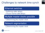 challenges to network time synch
