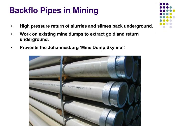 Backflo Pipes in Mining