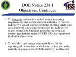 doe notice 234 1 objectives continued