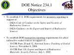 doe notice 234 1 objectives
