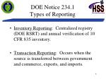 doe notice 234 1 types of reporting