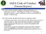 iaea code of conduct national register