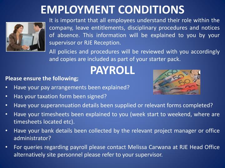EMPLOYMENT CONDITIONS