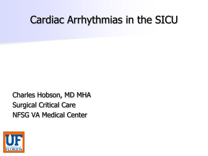 cardiac arrhythmias in the sicu n.