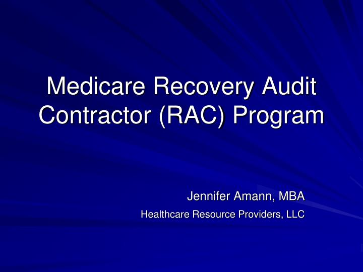 medicare recovery audit contractor rac program n.
