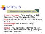 top menu bar
