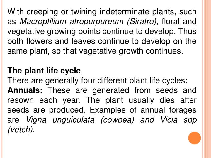 With creeping or twining indeterminate plants, such as