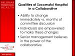qualities of successful hospital in a collaborative