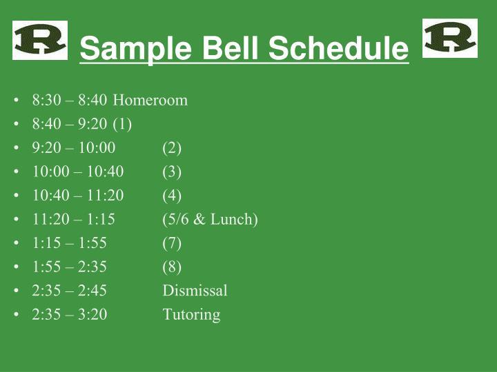 Sample Bell Schedule