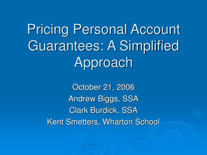 pricing personal account guarantees a simplified approach n.