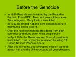 before the genocide