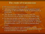 the route of transmission