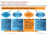 patient reported outcomes allow a holistic view of treatment effects