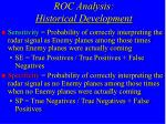 roc analysis historical development