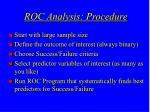 roc analysis procedure