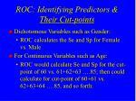 roc identifying predictors their cut points