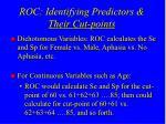 roc identifying predictors their cut points1