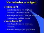 variedades y origen