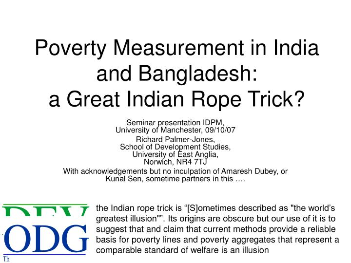 Poverty measurement in india and bangladesh a great indian rope trick