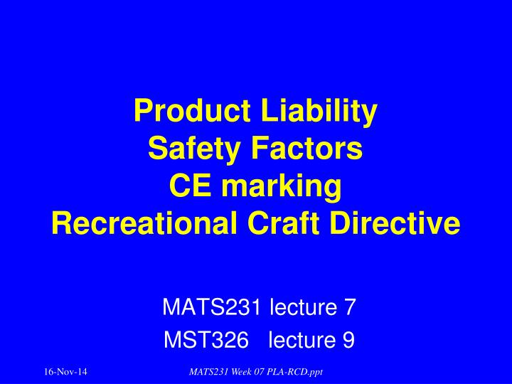product liability safety factors ce marking recreational craft directive n.