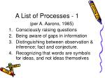 a list of processes 1