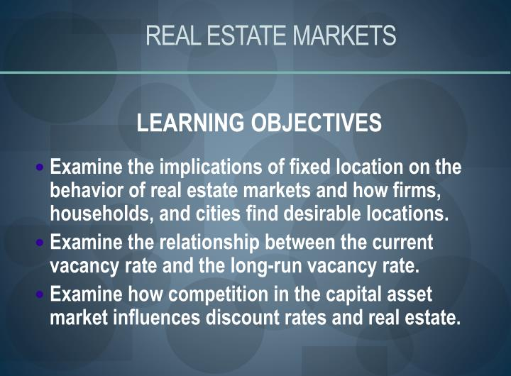 real estate markets n.
