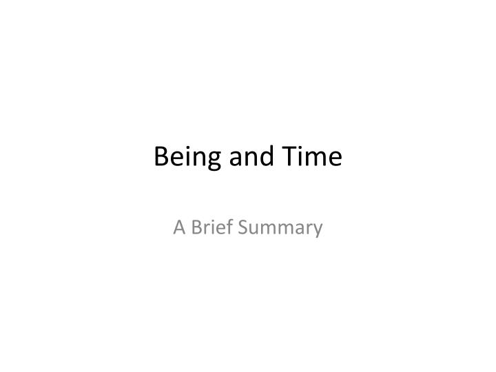 being and time n.