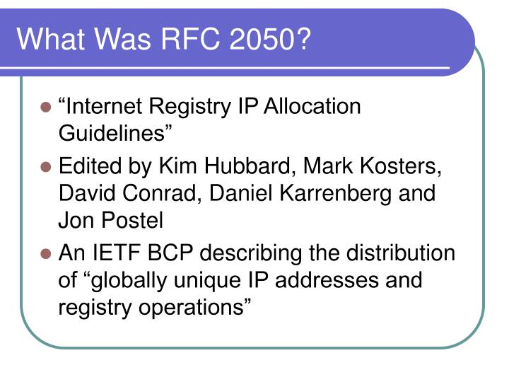 What was rfc 2050