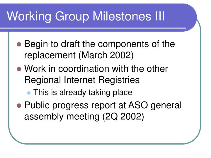 Working Group Milestones III