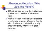 allowance allocation who gets the money