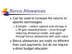bonus allowances