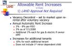 allowable rent increases 2 kinds 1 lahd approval not required