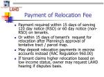 payment of relocation fee