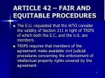 article 42 fair and equitable procedures