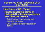 how do you want to measure qol qol theory