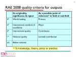 rae 2008 quality criteria for outputs