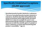 specifically established exceptions olaw approved