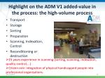 highlight on the adm v1 added value in the process the high volume process