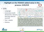 highlight on the fedaso added value in the process ocr icr