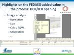 highlights on the fedaso added value in the process ocr icr opening