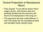 central proposition of neoclassical macro