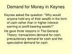 demand for money in keynes