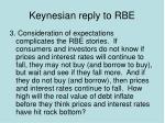 keynesian reply to rbe2