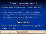 oracle s announcement
