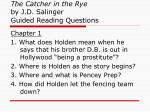 the catcher in the rye by j d salinger guided reading questions