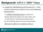 background apta s 2020 vision