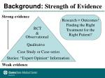 background strength of evidence