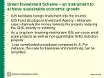 green investment scheme an instrument to achieve sustainable economic growth