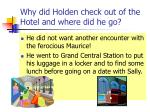 why did holden check out of the hotel and where did he go