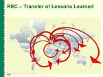 rec transfer of lessons learned